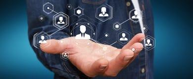 使用数字式社会网络3D翻译的商人 免版税库存照片
