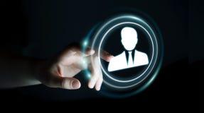 使用数字式社会网络3D翻译的女实业家 免版税库存图片