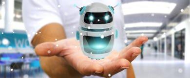 使用数字式chatbot机器人应用3D翻译的商人 库存照片