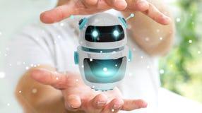 使用数字式chatbot机器人应用3D翻译的商人 免版税图库摄影