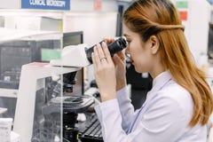 使用显微镜的科学家在实验室 免版税库存图片