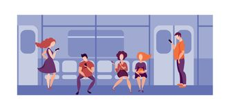 使用智能手机的人们在火车的公共交通工具 旅行在地铁的人们 皇族释放例证