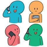 使用智能手机的传染媒介套人 免版税库存照片