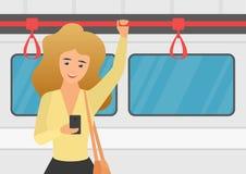使用智能手机的妇女在公共交通工具传染媒介例证 向量例证