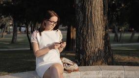 使用智能手机的年轻微笑的妇女坐长凳在公园在日落 发短信在电话的美丽的欧洲女孩 免版税库存图片