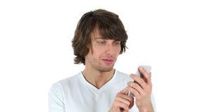 使用智能手机,白色背景的人 股票视频