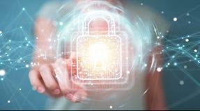 使用有数据保护的3D的女实业家数字式挂锁烈 图库摄影