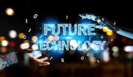使用未来技术文本全息图3D的白色机器人手回报 库存照片