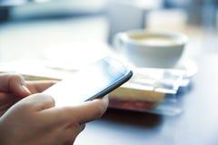 使用机动性的女商人手连接了到互联网 免版税库存照片