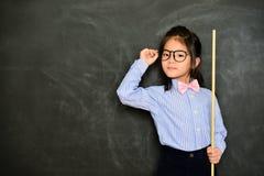 使用棍子教学研究类的女性家庭教师 库存图片