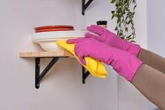 使用洗涤剂,在桃红色手套的年轻英俊的强的手清洗在烹调表面上的架子,关闭看法 库存图片