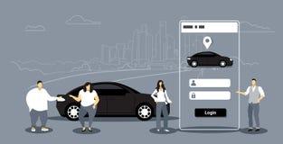 使用流动应用程序人妇女的人们定购汽车车租汽车分享概念运输汽车共用模式服务 库存例证