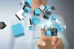 使用浮动蓝色发光的立方体网络3D renderin的女实业家 库存图片
