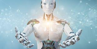 使用漂浮数字网连接的白色机器人与小点和线3D翻译 库存例证