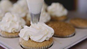 使用烹调袋子,做杯形蛋糕的糖果商 把黄油奶油放在鲜美松饼上 股票视频