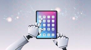 使用片剂电脑活用油罐顶部角钢视图人工智能数字未来派技术的机器人手 向量例证