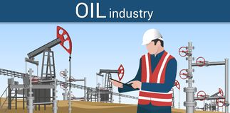 使用片剂,设计控制石油生产的过程 库存例证