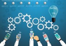 使用现代技术,导航企业想法,手机,在差速器传动齿轮对与电灯泡的成功,象,平的设计 免版税库存图片