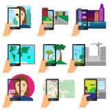 使用现代接触智能手机,设置被增添的现实 向量例证