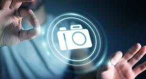 使用现代照相机应用3D翻译的商人 免版税图库摄影