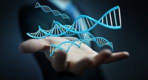 使用现代脱氧核糖核酸结构3D翻译的商人 免版税库存照片