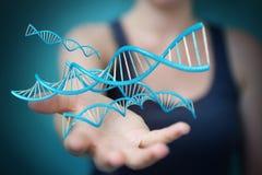 使用现代脱氧核糖核酸结构3D翻译的女实业家 图库摄影