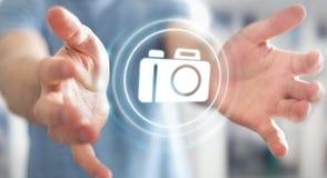 使用现代照相机应用3D翻译的商人 库存图片