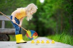 使用用五只橡胶鸭子的滑稽的小女孩 免版税库存图片