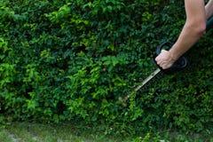 使用电整理者,供以人员修饰豪华的树篱 免版税库存图片