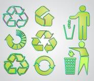 使用的多数回收符号向量 库存图片