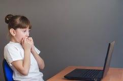使用的女孩看膝上型计算机 免版税库存图片