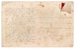 使用的明信片 葡萄酒纸板料手写的文本 免版税库存照片