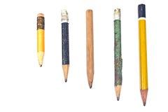 使用的木铅笔 免版税库存照片