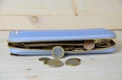 使用的欧洲硬币和蓝色walllet 库存照片
