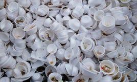 使用的泡沫食盒 库存图片