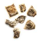 使用的湿茶袋的分类 免版税库存照片