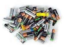 使用的电池的不同的类型准备好回收 库存图片