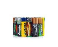 使用的电池的不同的类型准备好回收 免版税图库摄影