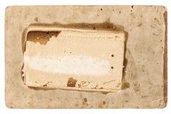 使用的纸白色背景葡萄酒被撕毁的纸板 库存照片