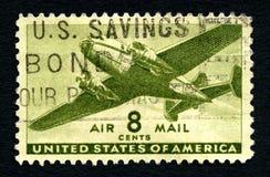 使用的美国航空邮件邮票 免版税图库摄影