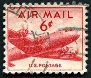 使用的美国航空邮件邮票 免版税库存照片