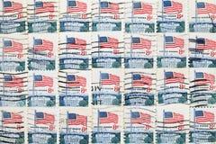 使用的美国邮票 库存图片