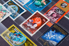 使用的老邮费俄国印花税 免版税库存图片