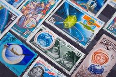 使用的老邮费俄国印花税 库存照片
