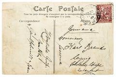 使用的葡萄酒手写的明信片信件 免版税库存图片