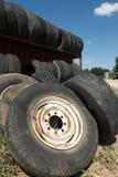使用的轮胎或轮子,得克萨斯,美国 免版税图库摄影