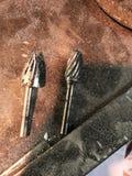 使用的金属制品工具 在研磨金属的Tc Burs 图库摄影