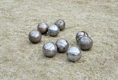 使用的petanque球 库存照片