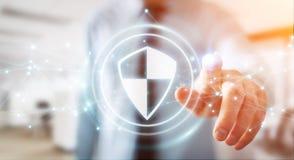 使用盾安全保护的商人与连接3D ren 免版税图库摄影