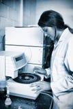 使用离心机的集中的科学家 库存照片